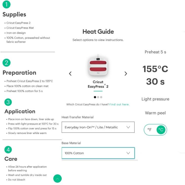 Cricut EasyPress Heat Guide tutorial